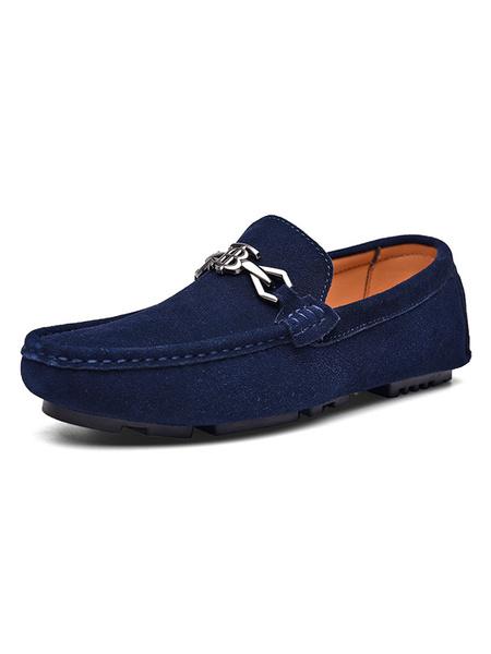 Milanoo Mocasines de gamuza para hombre Zapatos de conduccion con detalle de metal con punta redonda azul