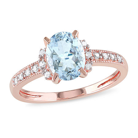 Womens Diamond Accent Genuine Blue Aquamarine 18K Gold Over Silver Engagement Ring, 5 , No Color Family