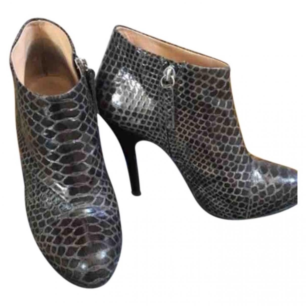 Giuseppe Zanotti \N Grey Python Ankle boots for Women 38 EU