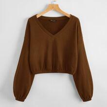 Crop Pullover mit Bishofaermeln