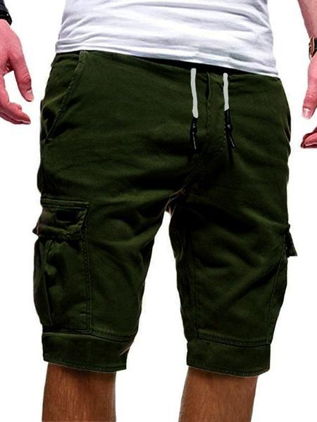 Milanoo Pantalones cortos de carga para hombres con bolsillos Cintura con cordon Pantalones de playa de verano