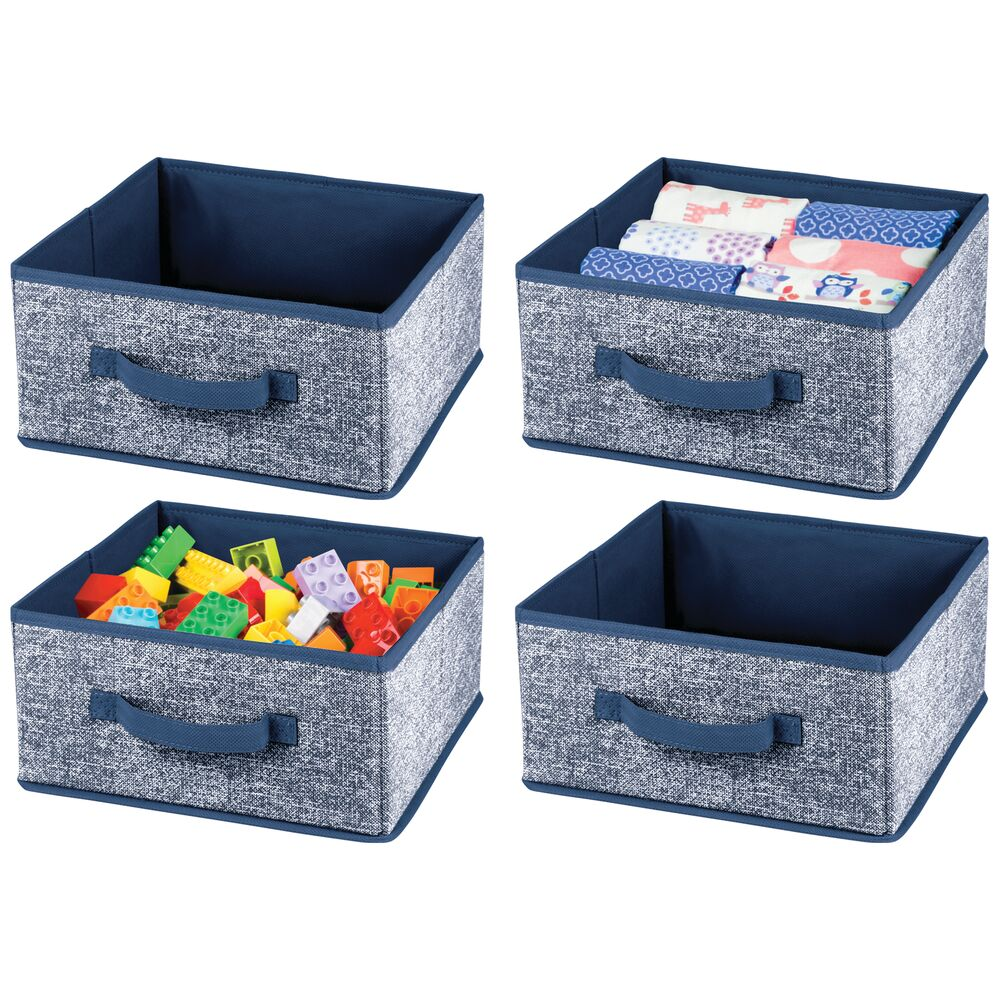 Fabric Home Storage Bin for Furniture Cubby Storage in Navy, 10.5