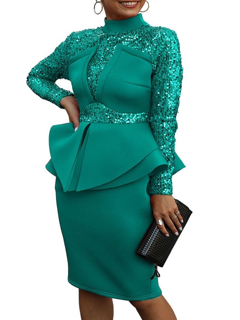 Ericdress Falbala Knee-Length Stand Collar Pullover High Waist Dress