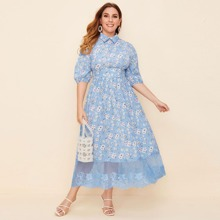 Plus Collared Lace Hem Floral Print Dress