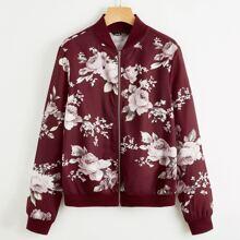 Bomber Jacke mit Reissverschluss vorn und Blumen Muster