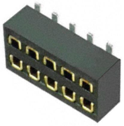 HARWIN 1.27mm Pitch 10 Way 2 Row Straight PCB Socket, Surface Mount, Solder Termination