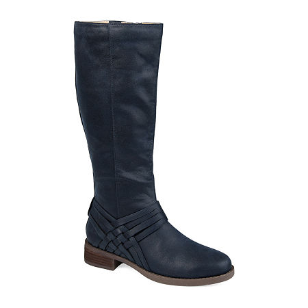 Journee Collection Womens Meg Wide Calf Stacked Heel Over the Knee Boots, 8 Medium, Blue