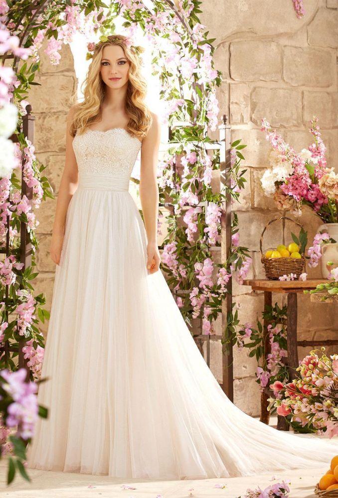Simple Strapless White Lace Appliques A-line Long Wedding Dress