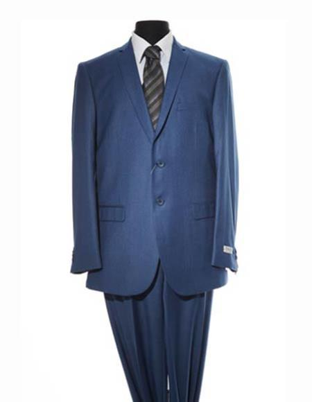 Men's Single Breasted Two Button Suit Navy Blue