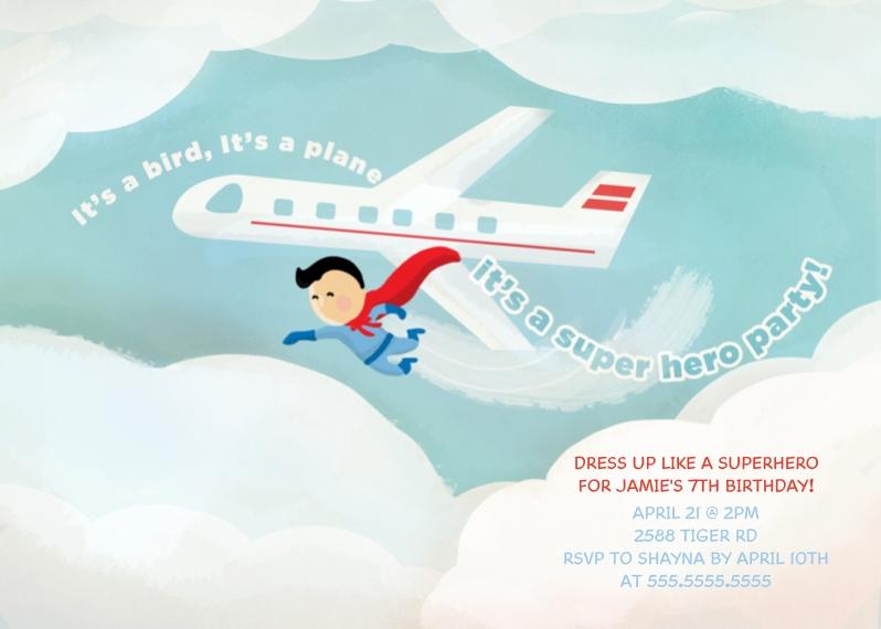 Kids Birthday Party Invites 5x7 Folded Cards, Premium Cardstock 120lb, Card & Stationery -Superhero Boy