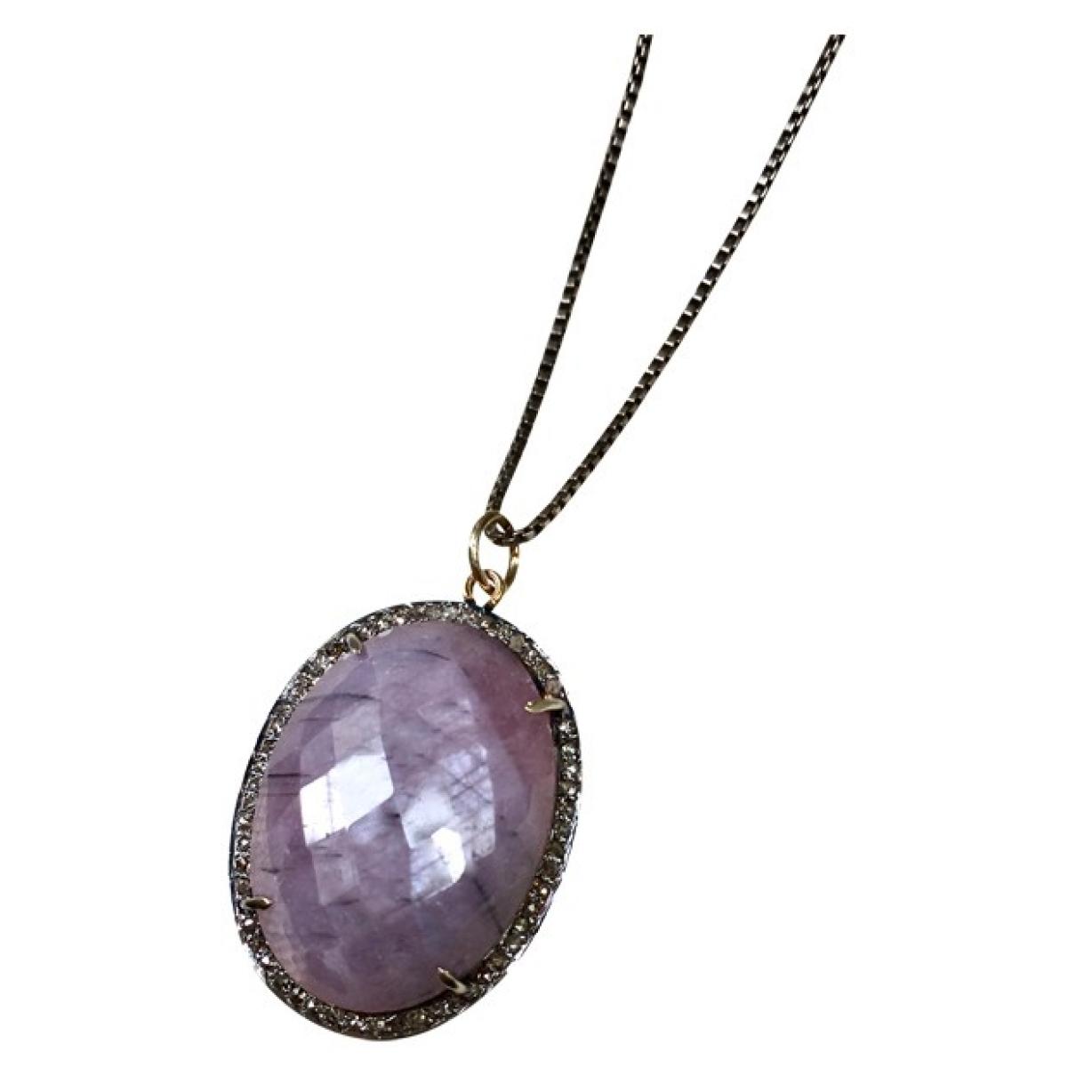 - Pendentif Saphir pour femme en plaque or - violet