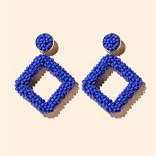 Bead Geometric Drop Earrings