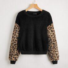 Leopard Drop Shoulder Teddy Sweatshirt