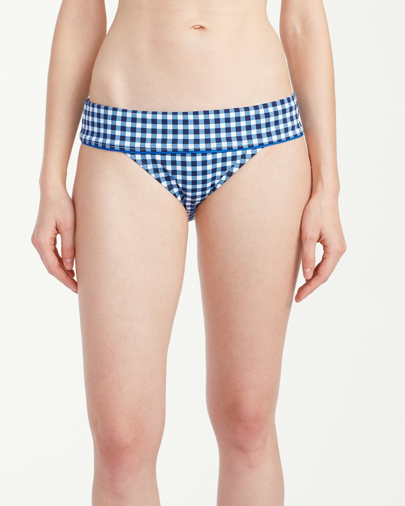 Gingham Getaway Wide-Band Hipster Bikini Bottoms