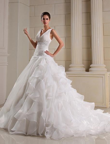 Milanoo Vestidos de novia Organza Ruffles V cuello nupcial vestido Dropped cintura rebordear plisado capilla vestido de boda del tren