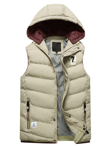 Milanoo Blue Quilted Jacket Hooded Sleeveless Logo Print Zip Up Slim Fit Men's Winter Vest Jacket