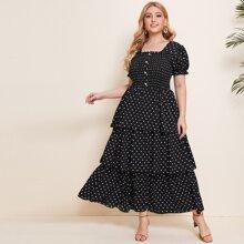 Plus Polka Dot Print Shirred Layered Ruffle Dress