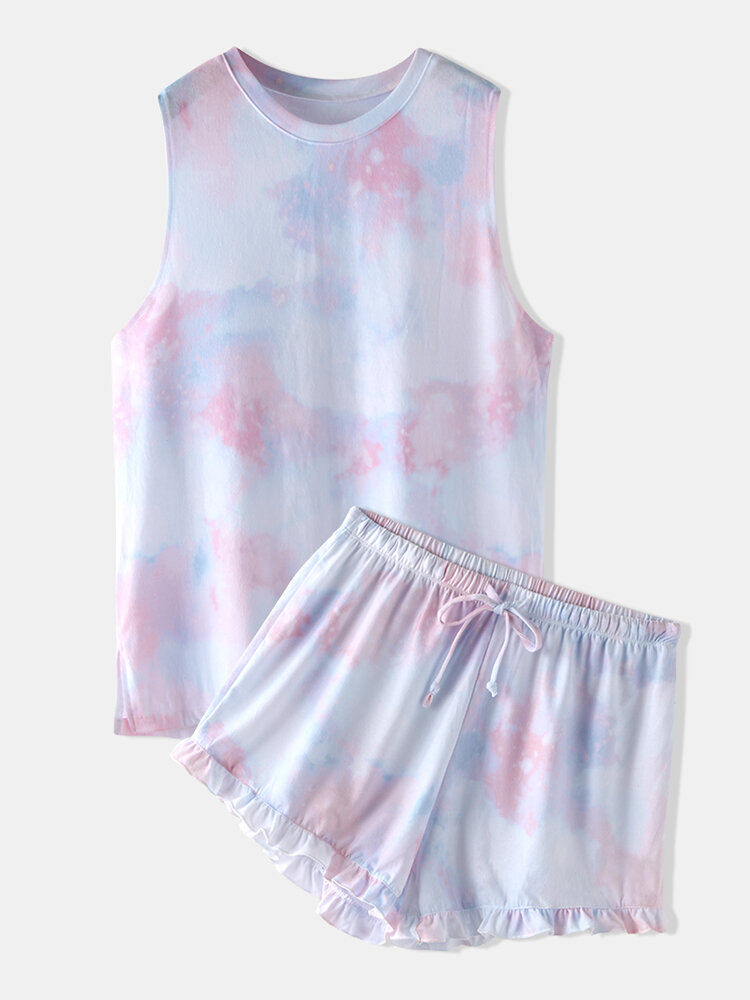 Women Sleeveless Pajamas Short Set Tie Dye Softies Gradient Two Piece Loungewear With Flounce Trim Bottom