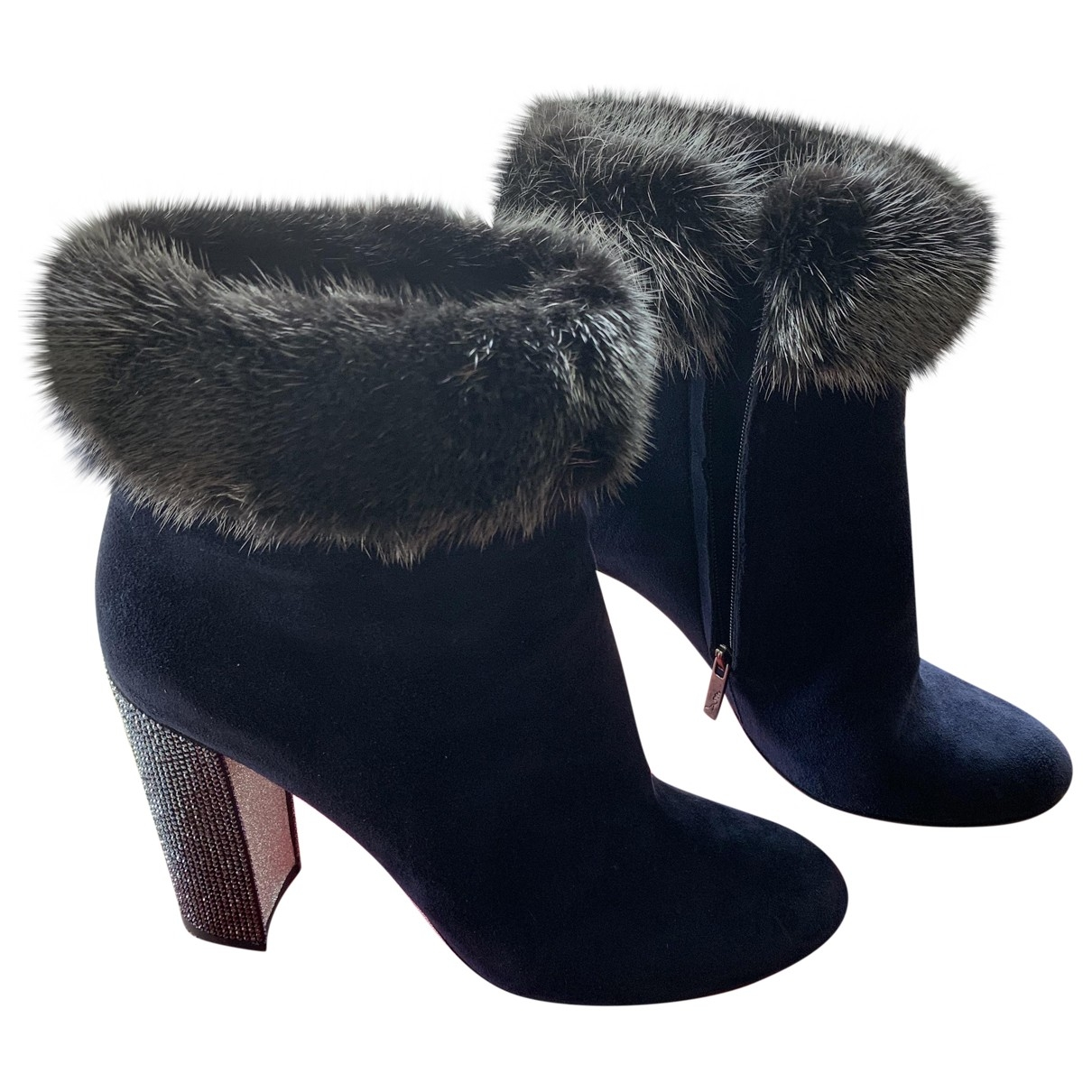 Rene Caovilla \N Blue Suede Ankle boots for Women 40 EU