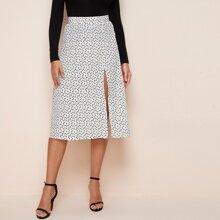 Confetti Heart Print Split Thigh Skirt