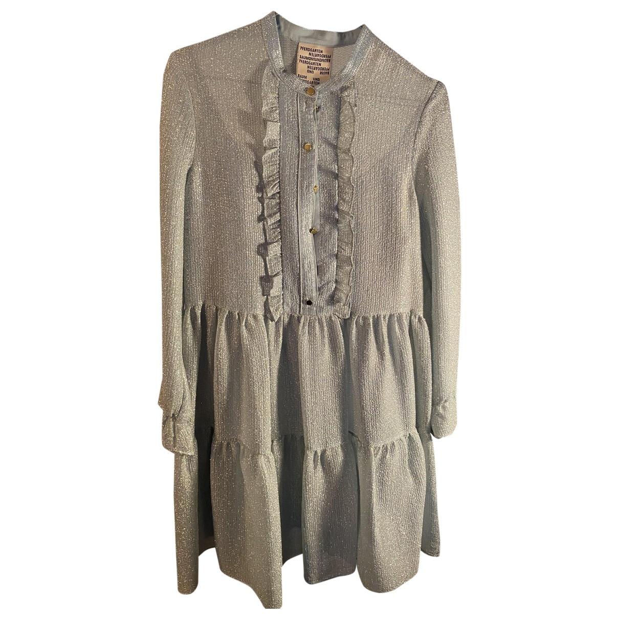 Baum Und Pferdgarten \N Kleid in  Silber Seide