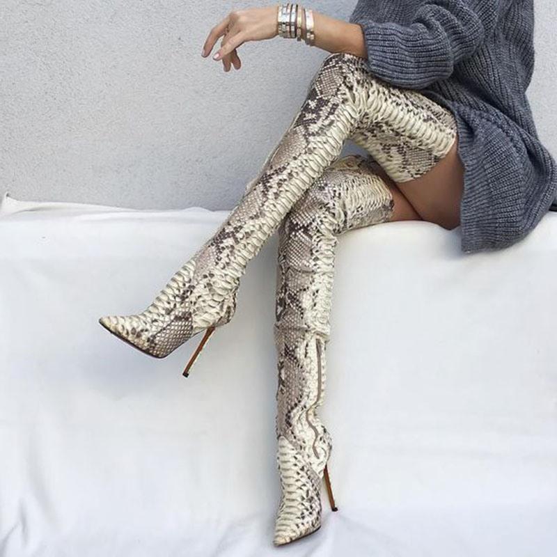 Ericdress Serpentine Pointed Toe Stiletto Heel Thigh High Boots