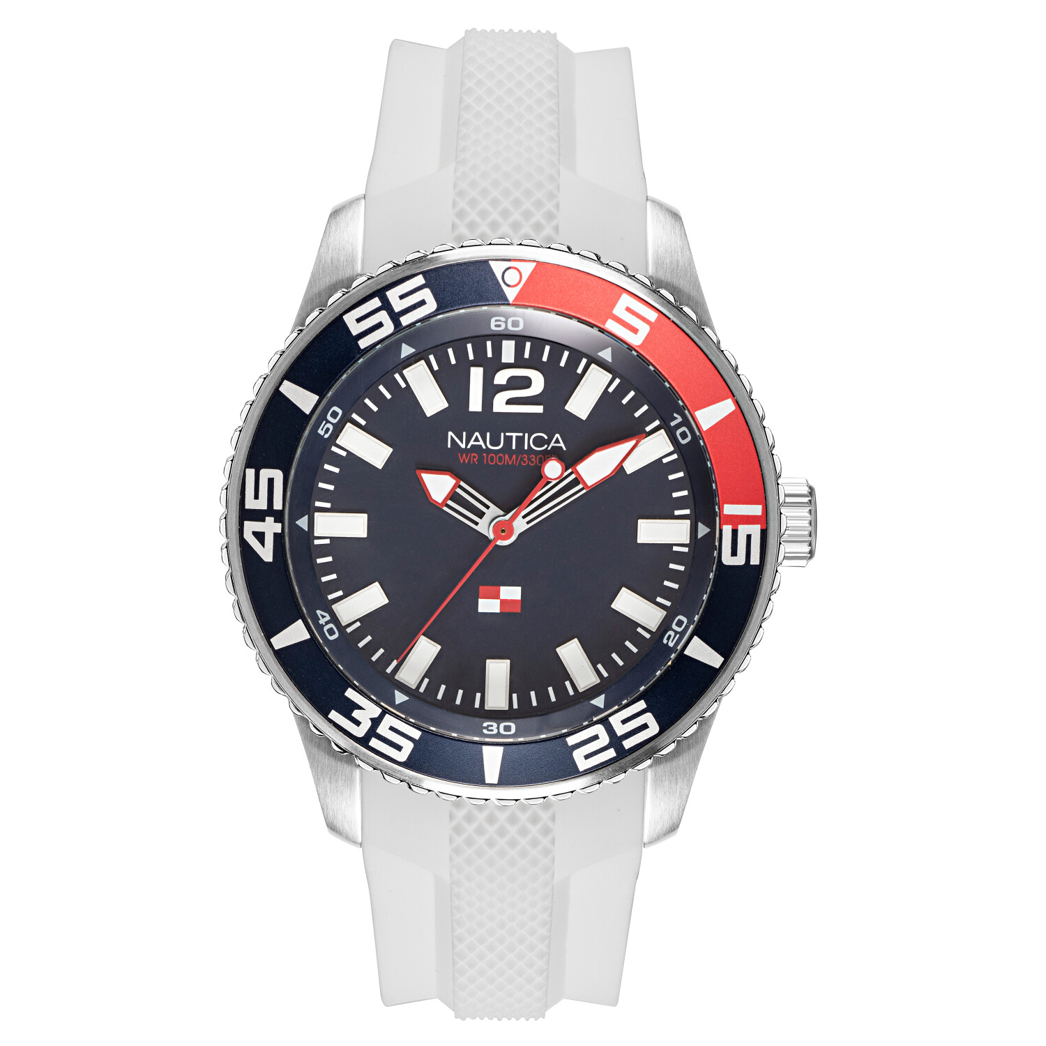 Nautica Watch NAPPBP905 Pacific Beach, Analog, Water Resistant, Luminous Hands, Silicone Band, Buckle Clasp, Blue