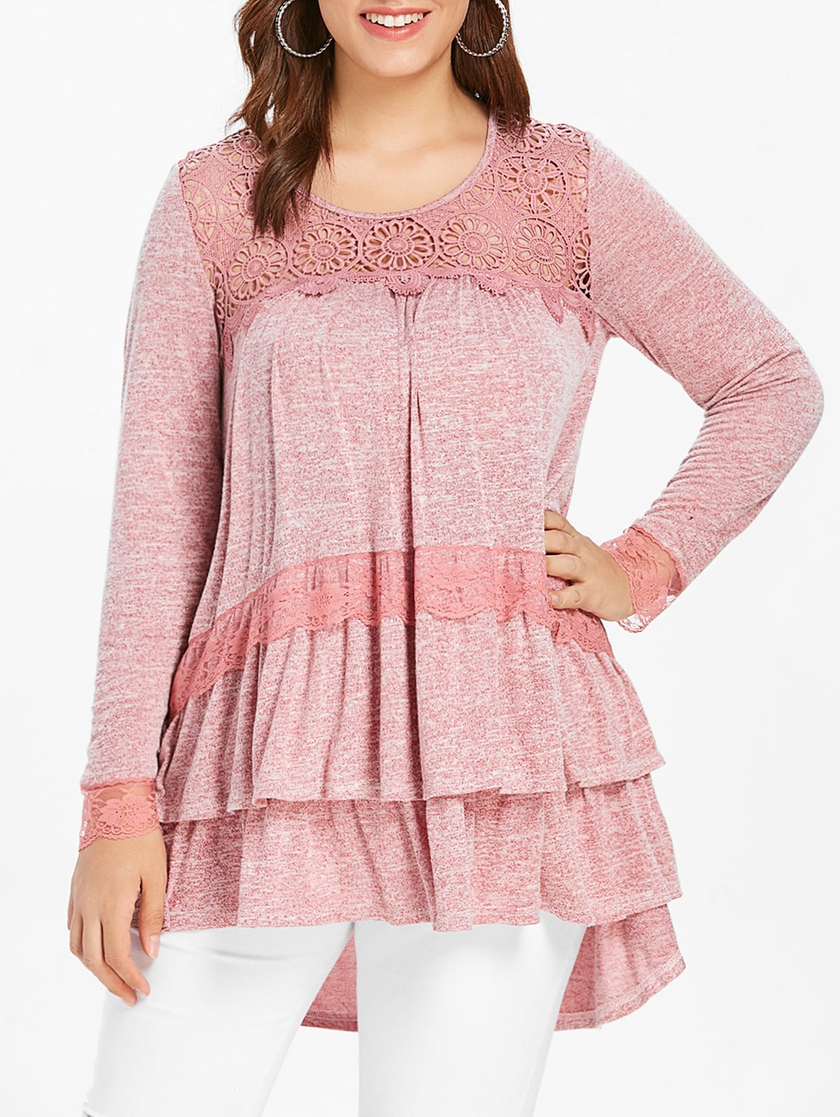 Plus Size Lace Panel Long Sleeve Tiered Top