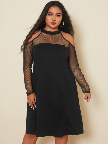 YOINS Plus Size Cold Shoulder Long Sleeves Dress