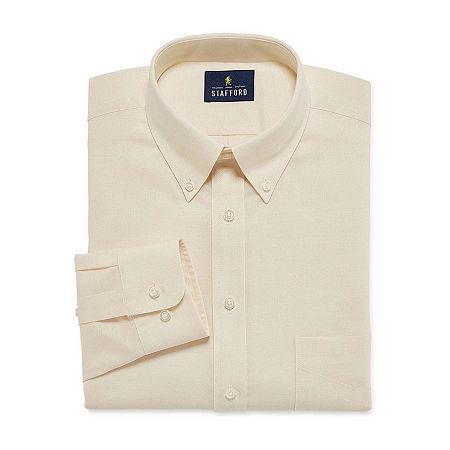 Stafford Mens Wrinkle Free Oxford Button Down Collar Regular Fit Dress Shirt, 14.5 34-35, Beige