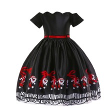 Toddler Girls Christmas Print Tie Back Party Dress