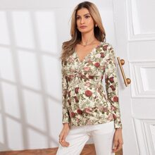 Maternity Twist Front Floral Top