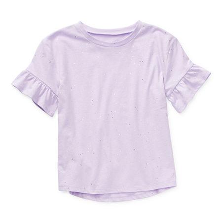 Arizona Little & Big Girls Round Neck Short Sleeve T-Shirt, 3x-large (22.5) Plus , Purple