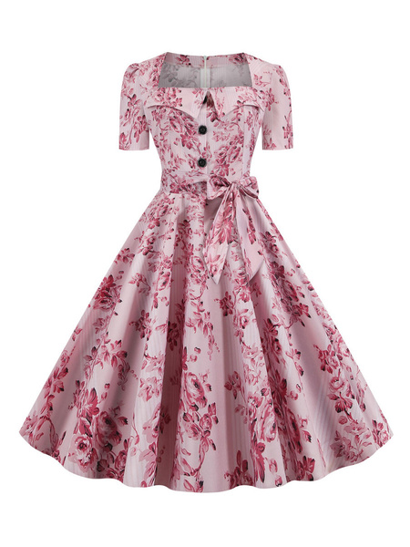 Milanoo 1950 Hoja vestido de epoca Imprimir cuello del cuadrado de mangas cortas vestido de oscilacion