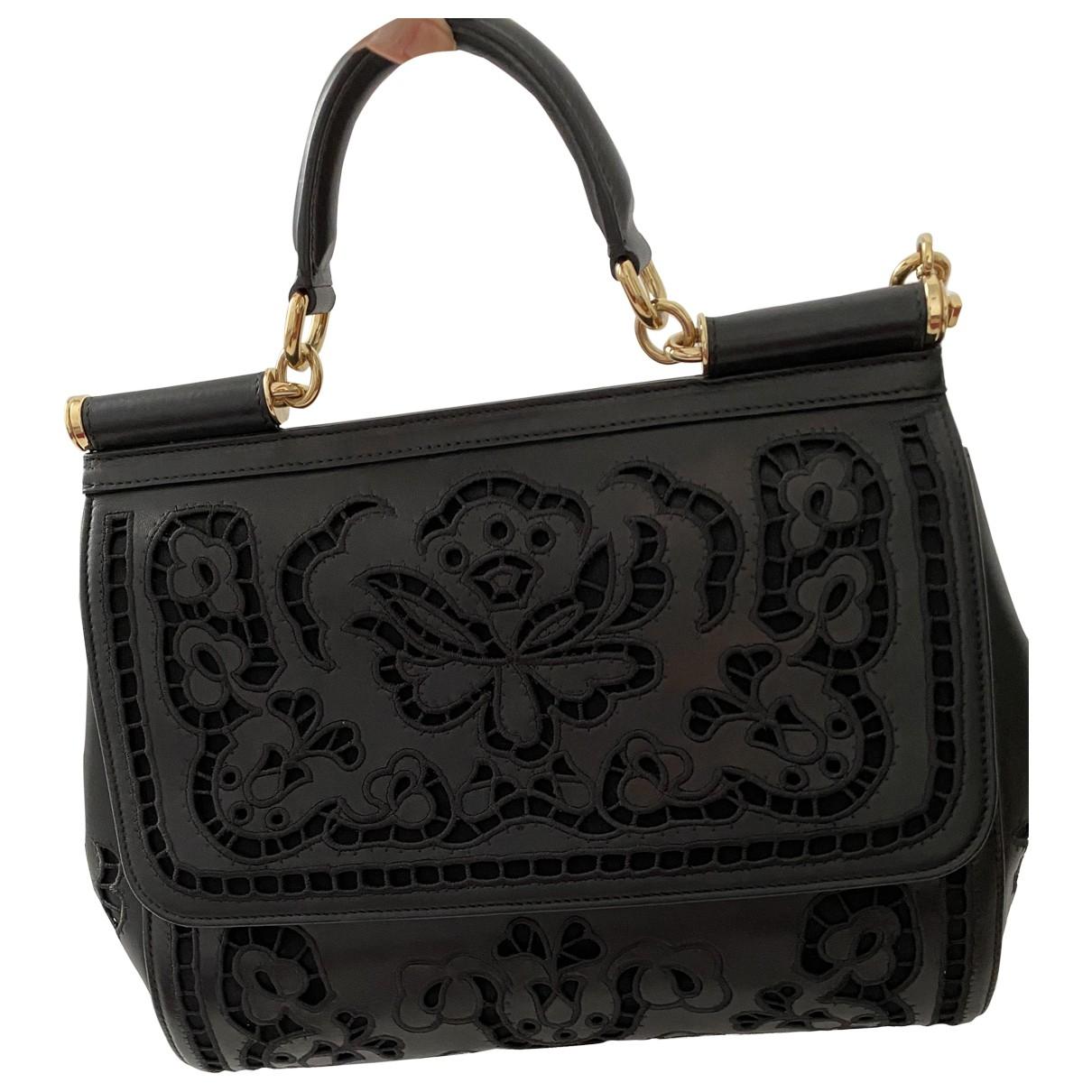 Dolce & Gabbana - Sac a main Sicily pour femme en cuir - noir