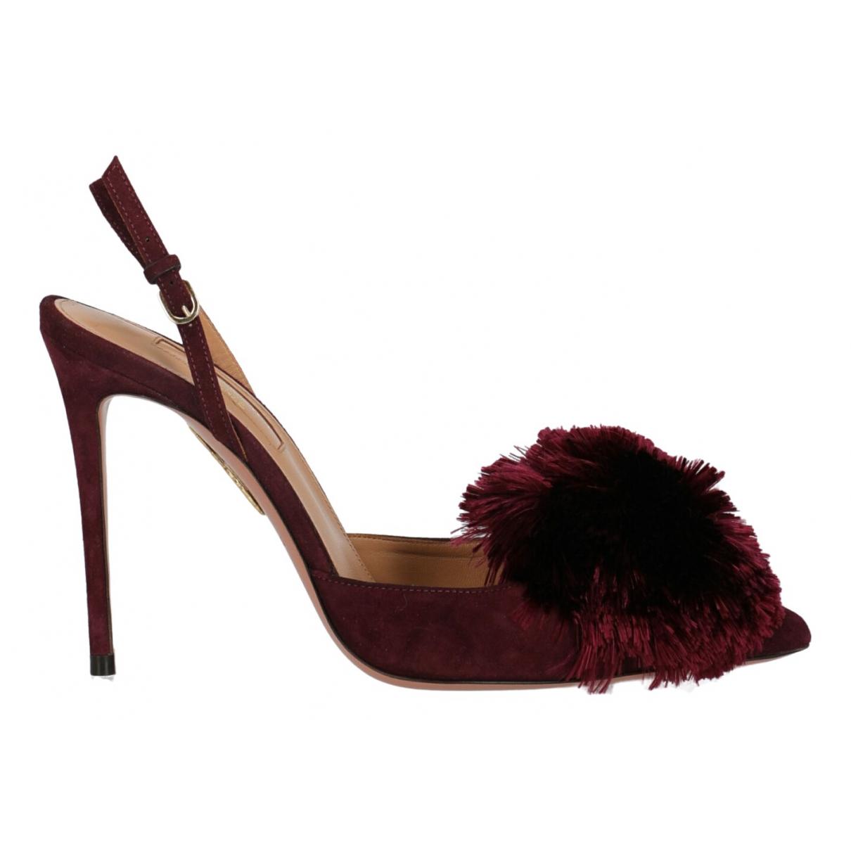 Aquazzura N Burgundy Suede Sandals for Women 36 IT