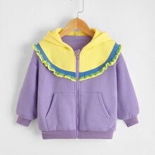 Toddler Girls Frill Trim Colorblock Zip Up Hooded Jacket