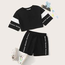 Girls Drop Shoulder Letter Tape Detail Crop Top & Shorts Set