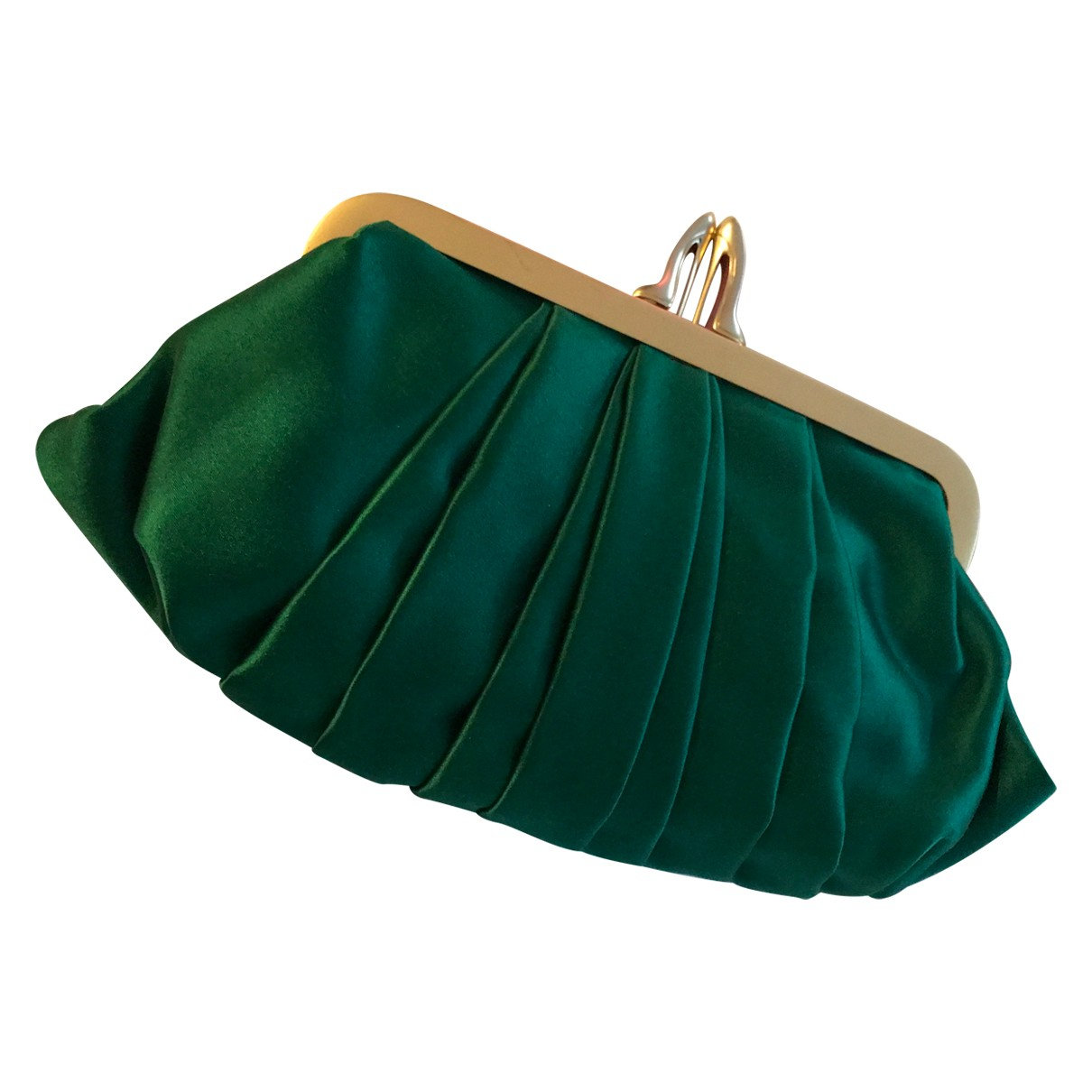 Christian Louboutin \N Clutch in  Gruen Seide