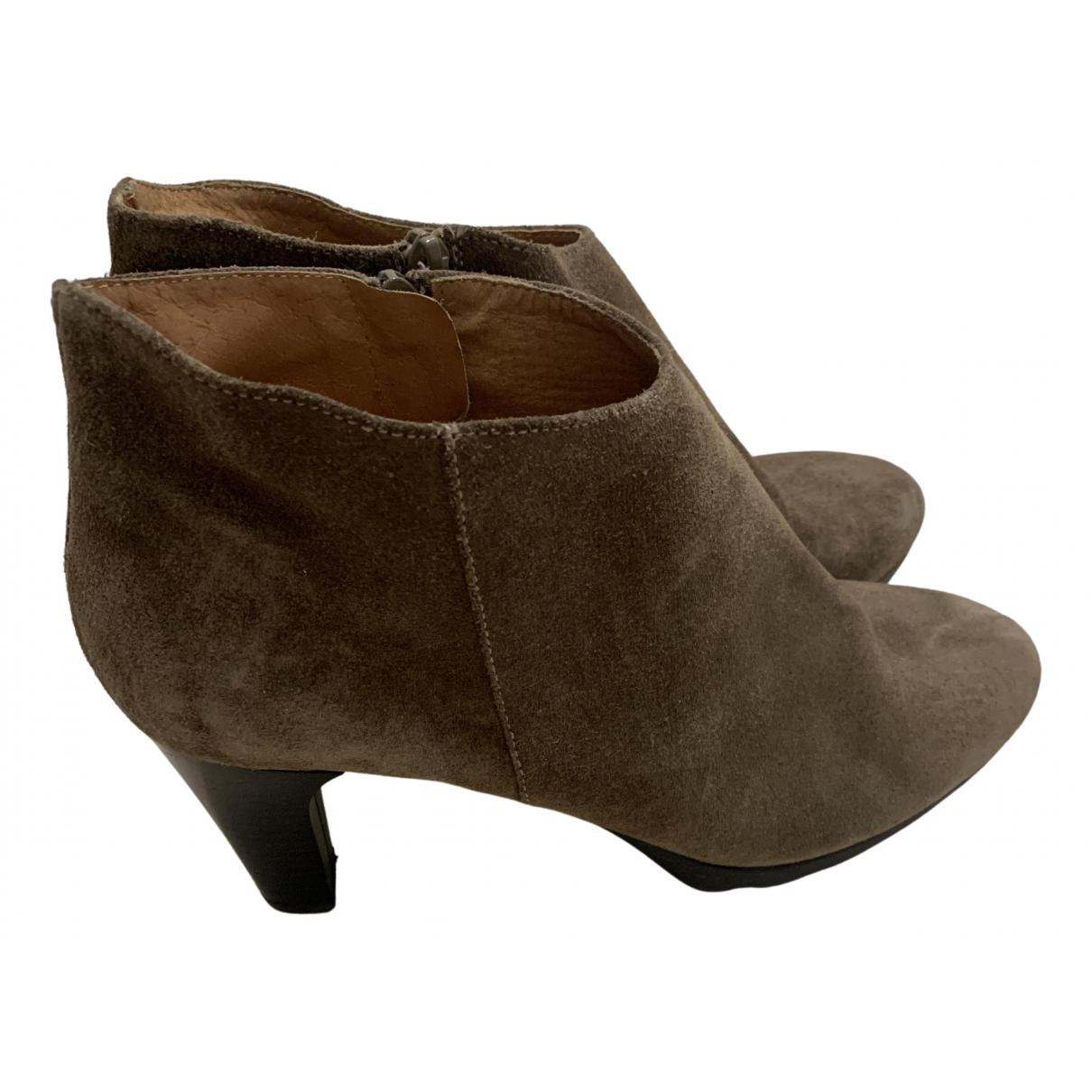 - Boots   pour femme en suede - kaki