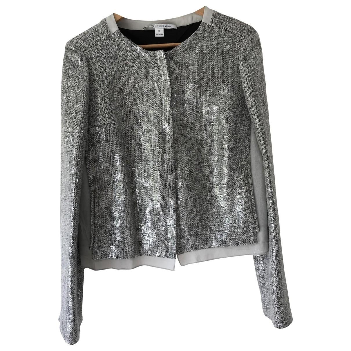 Diane Von Furstenberg \N Silver Silk jacket for Women 10 US