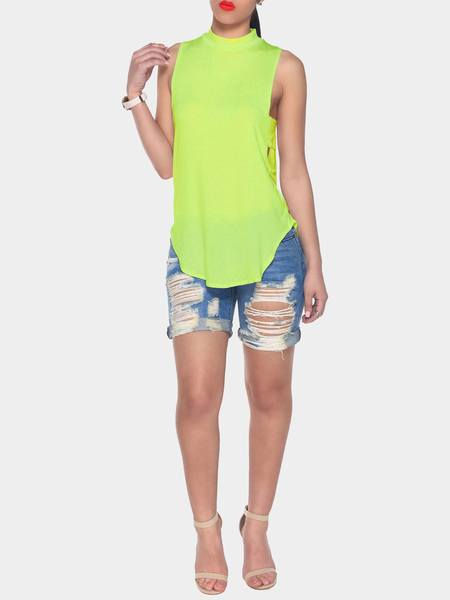 Yoins Green Halter Neck Cut Out Back Tank Top with Curved Hem