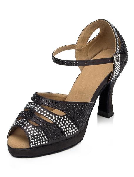 Milanoo Latin Dance Shoes Black Peep Toe Spool Heel Rhinestones Ballroom Dance Sandals For Women