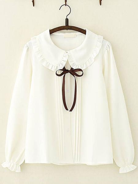 Milanoo Sweet Lolita Shirt Ruffle Bowknot Peter Pan Collar White Chiffon Lolita Top