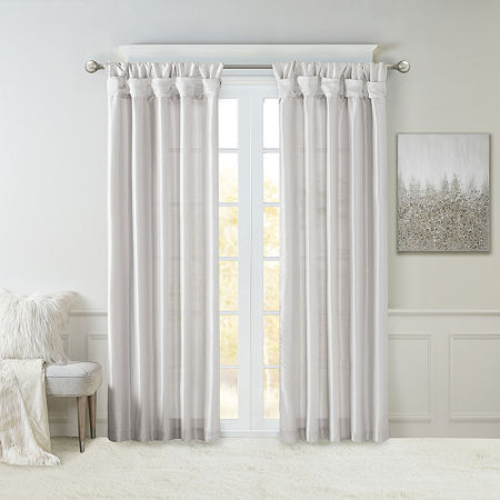 Madison Park Natalie Twisted Tab Light-Filtering Tab-Top Single Curtain Panel, One Size , Silver