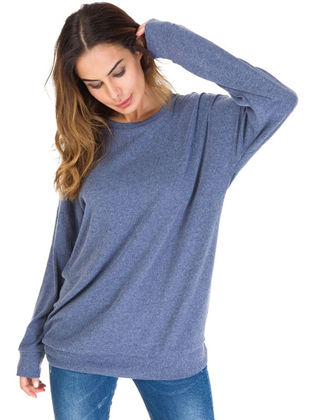 Milanoo Long Sleeve Tees Black Jewel Neck Striped Women Tee Shirt