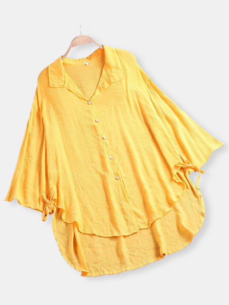 Vintage Solid Color Irregular Long Sleeve Blouse