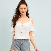 Double V-Neck Buttoned Front Knot Cuff Top