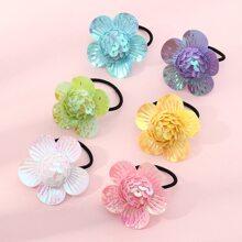 6pcs Toddler Girls Sequin Flower Decor Hair Tie