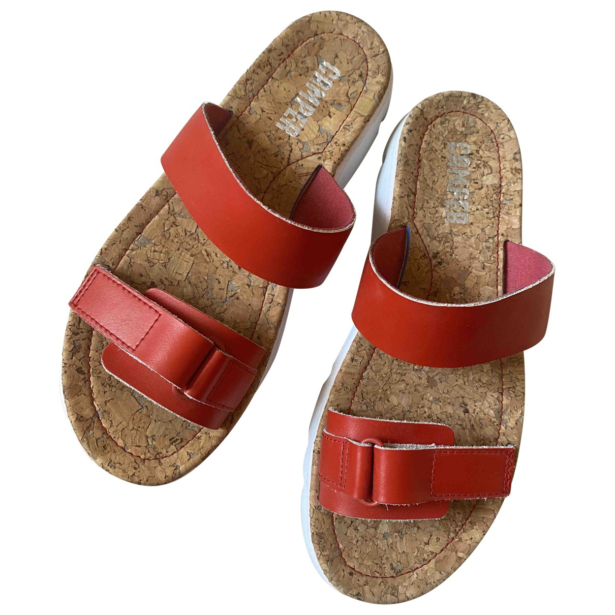 Camper \N Sandalen in  Rot Leder